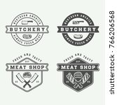 set of vintage butchery meat ... | Shutterstock .eps vector #766206568