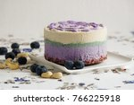 vegan raw cake with berries | Shutterstock . vector #766225918