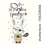 cute little bunny pirate... | Shutterstock .eps vector #766228366