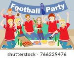 cartoon people celebrate with... | Shutterstock . vector #766229476