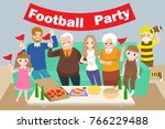cartoon family celebrate with... | Shutterstock . vector #766229488