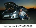 car broke down on the highway... | Shutterstock . vector #766236892