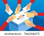 voting hands and ballot box | Shutterstock .eps vector #766246672