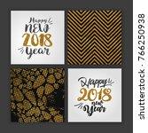 happy new year 2018 golden...   Shutterstock .eps vector #766250938