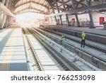 railway station of sky train... | Shutterstock . vector #766253098