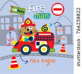 cat the fire rescue funny... | Shutterstock .eps vector #766258822