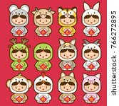 12 chinese zodiac  icon set ...   Shutterstock .eps vector #766272895
