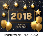2018 new year black gold... | Shutterstock .eps vector #766273765