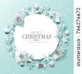 luxury christmas greeting card... | Shutterstock .eps vector #766276672