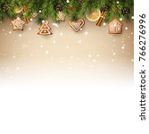 christmas background with fir... | Shutterstock .eps vector #766276996