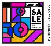 summer sale memphis style web... | Shutterstock .eps vector #766277602