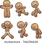 gingerbread man in different... | Shutterstock .eps vector #766296628