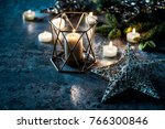 christmas background candles ... | Shutterstock . vector #766300846