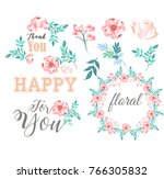 set with floral elements | Shutterstock .eps vector #766305832