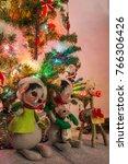 decorated indoor christmas tree ...   Shutterstock . vector #766306426