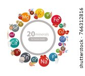 20 minerals  microelements and... | Shutterstock .eps vector #766312816