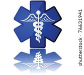 Glossy illustration in white and blue showing a medical icon - stock photo