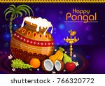 happy pongal religious holiday... | Shutterstock .eps vector #766320772