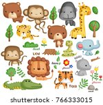 jungle animal vector set | Shutterstock .eps vector #766333015