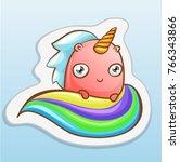 fashion cartoon sticker with... | Shutterstock .eps vector #766343866