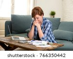 young sad worried and desperate ... | Shutterstock . vector #766350442