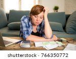 young sad worried and desperate ...   Shutterstock . vector #766350772