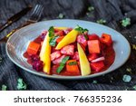 delicious fruit salad on plate  ... | Shutterstock . vector #766355236
