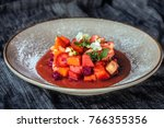delicious fruit salad on plate  ... | Shutterstock . vector #766355356