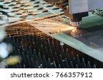 the fiber  laser cutting... | Shutterstock . vector #766357912