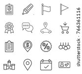 thin line icon set   report ... | Shutterstock .eps vector #766361116