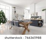 3d rendering. nordic kitchen... | Shutterstock . vector #766365988