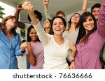 excited and happy group of... | Shutterstock . vector #76636666