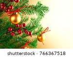 golden christmas decoration... | Shutterstock . vector #766367518