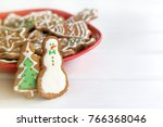ginger cookies in the shape of... | Shutterstock . vector #766368046