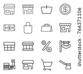 thin line icon set   shop ... | Shutterstock .eps vector #766371106