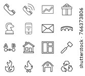 thin line icon set   phone ... | Shutterstock .eps vector #766373806
