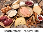 selection of food high in... | Shutterstock . vector #766391788