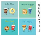 vector cards with cartoon funny ... | Shutterstock .eps vector #766393162