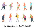 people on the street. old... | Shutterstock . vector #766394812