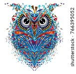 kaleidoscopic owl in blue... | Shutterstock .eps vector #766395052