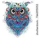 kaleidoscopic owl in blue... | Shutterstock .eps vector #766395052