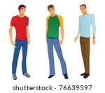 three young men in casual... | Shutterstock .eps vector #76639597