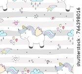 cute hand drawn unicorn vector... | Shutterstock .eps vector #766398016