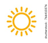 yellow sun icon in flat design. ... | Shutterstock .eps vector #766410376