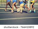female and male marathon... | Shutterstock . vector #766410892