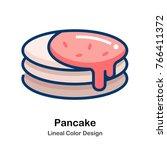 pancake with orange jam leneal... | Shutterstock .eps vector #766411372