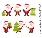 set of cute santa claus. new... | Shutterstock .eps vector #766417846
