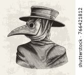 plague doctor hand drawing... | Shutterstock .eps vector #766421812