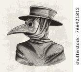 plague doctor hand drawing... | Shutterstock .eps vector #766421812