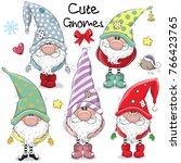 set of cute cartoon gnomes... | Shutterstock .eps vector #766423765